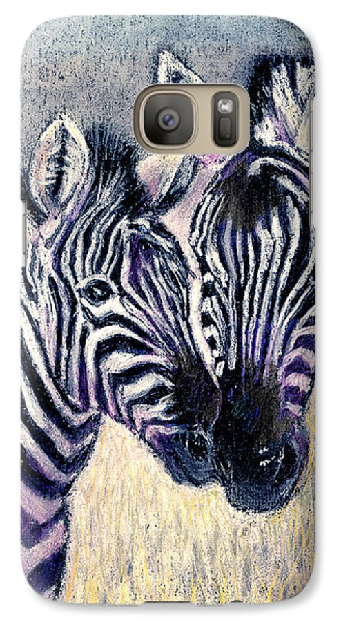 Zebras Galaxy S7 Case featuring the pastel Together by Arline Wagner