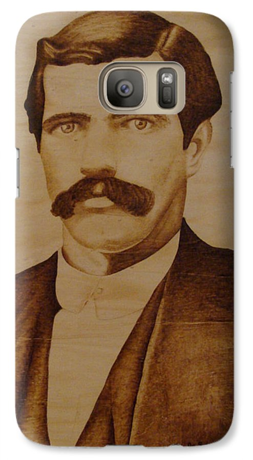 Pyrography; Woodburning; Sepia; Old West; Sheriff; Galaxy S7 Case featuring the pyrography Tom Smith by Jo Schwartz