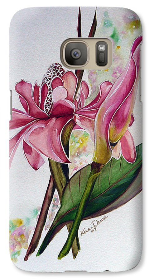 Flower Painting Floral Painting Botanical Painting Flowering Ginger. Galaxy S7 Case featuring the painting Torch Ginger Lily by Karin Dawn Kelshall- Best