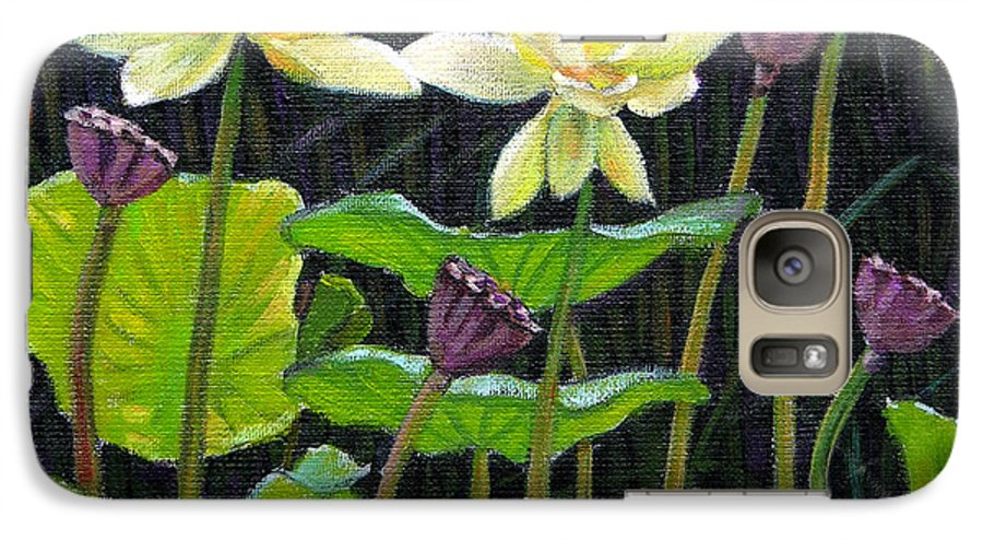 Lotus Galaxy S7 Case featuring the painting Touching Lotus Blooms by John Lautermilch