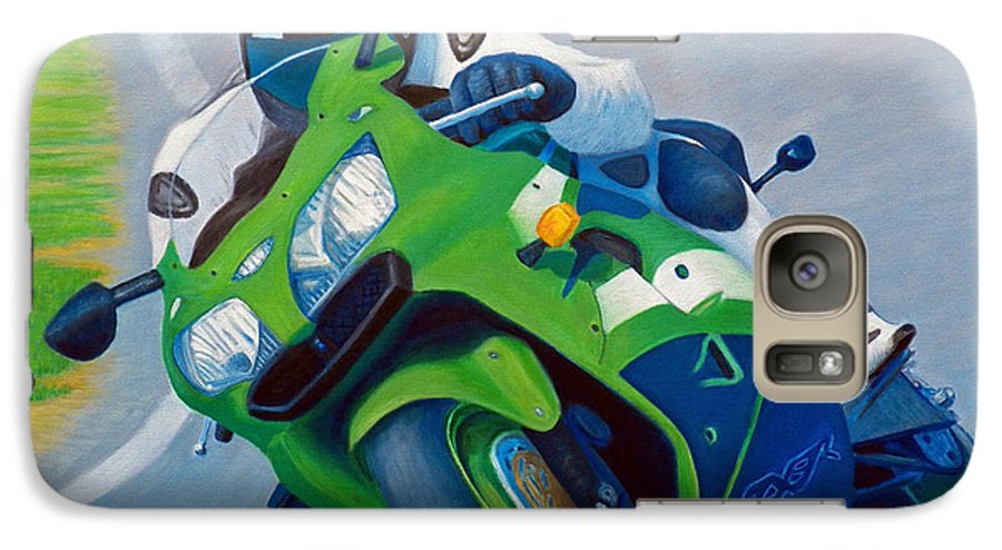 Motorcycle Galaxy S7 Case featuring the painting Track Day - Kawasaki Zx9 by Brian Commerford