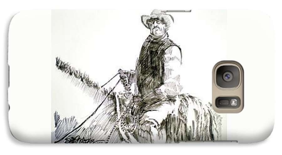Trail Boss Galaxy S7 Case featuring the drawing Trail Boss by Seth Weaver