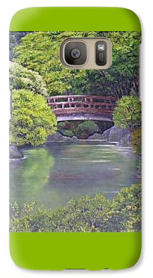 This Peaceful Scene Is An Artist's Rendition Of The Japanese Gardens Galaxy S7 Case featuring the painting Tranquility by Darla Boljat