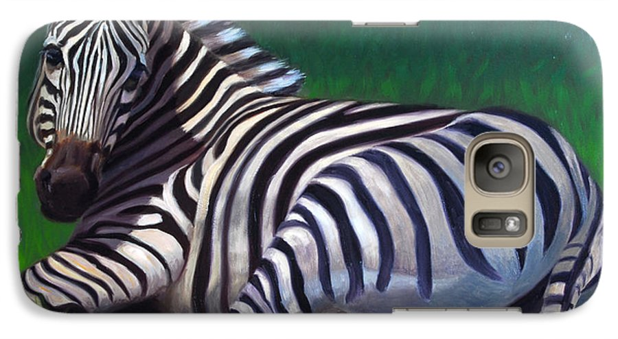 Zebra Galaxy S7 Case featuring the painting Tranquility by Greg Neal