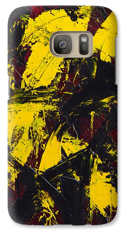 Abstract Galaxy S7 Case featuring the painting Transitions With Yelllow And Black by Dean Triolo