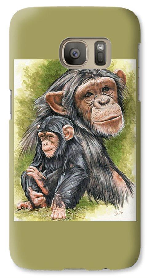 Chimpanzee Galaxy S7 Case featuring the mixed media Treasure by Barbara Keith