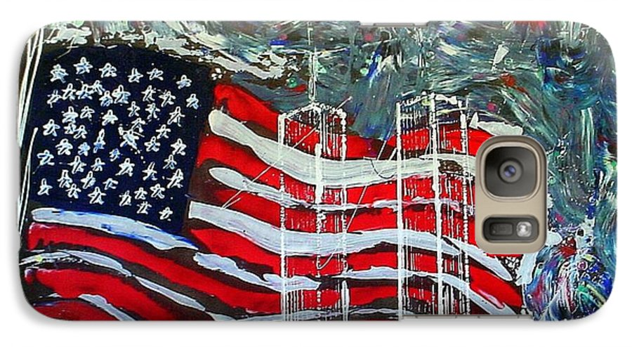 American Flag Galaxy S7 Case featuring the mixed media Tribute by J R Seymour