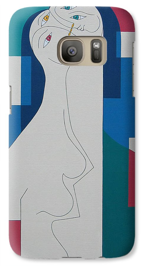 Modern Women Bleu Green Red Humor Galaxy S7 Case featuring the painting Trio by Hildegarde Handsaeme