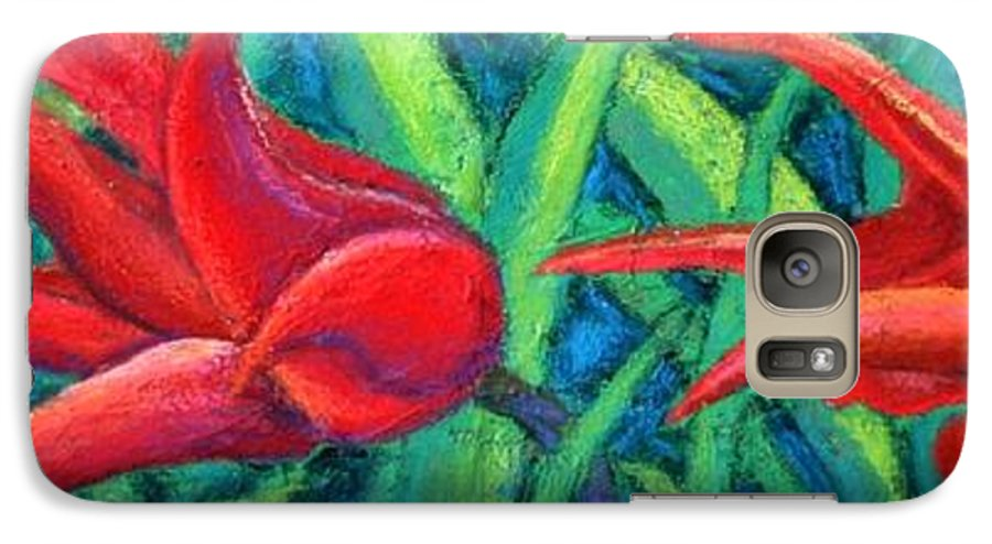 Tulips Galaxy S7 Case featuring the painting Triple Tease Tulips by Minaz Jantz