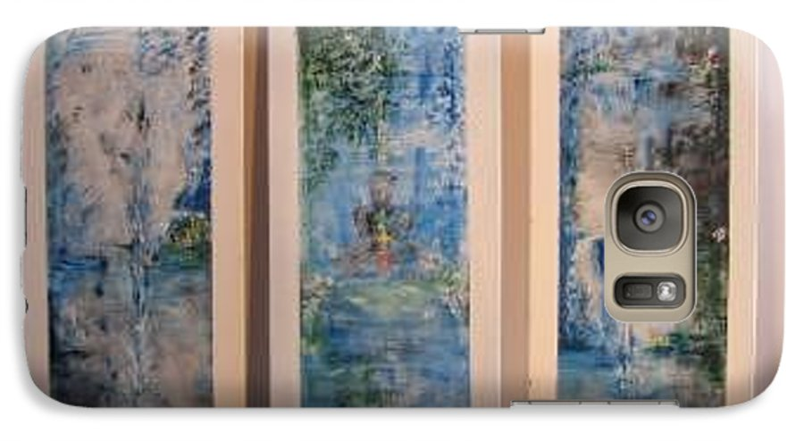 Meditation Galaxy S7 Case featuring the painting Triptych Spiritual Meditation by Lizzy Forrester