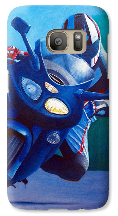 Motorcycle Galaxy S7 Case featuring the painting Triumph Sprint - Franklin Canyon by Brian Commerford