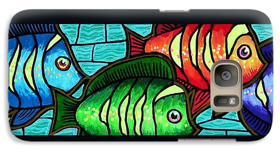 Tropics Galaxy S7 Case featuring the painting Tropic Swim by Jim Harris