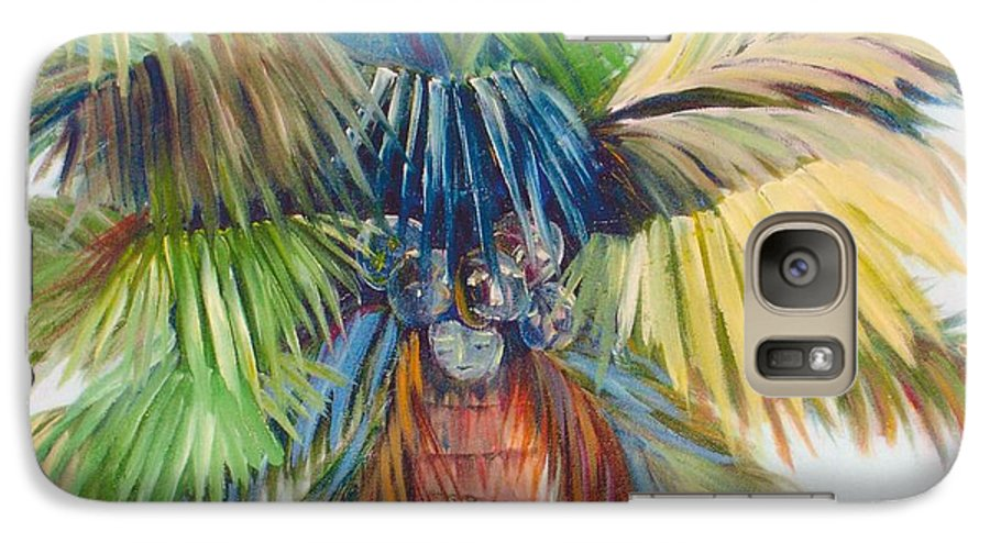 Palm Galaxy S7 Case featuring the painting Tropical Palm Inn by Susan Kubes