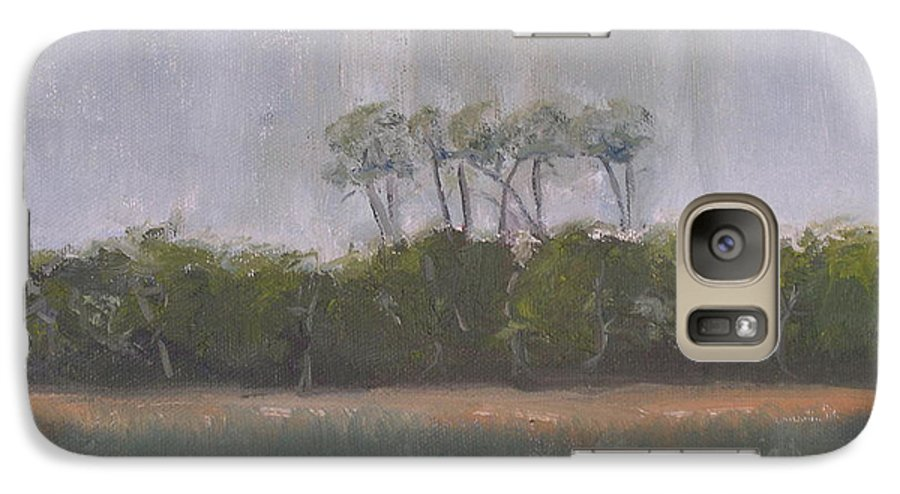 Landscape Beach Coast Tree Water Galaxy S7 Case featuring the painting Tropical Storm by Patricia Caldwell