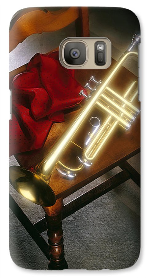 Trumpet Galaxy S7 Case featuring the photograph Trumpet On Chair by Tony Cordoza