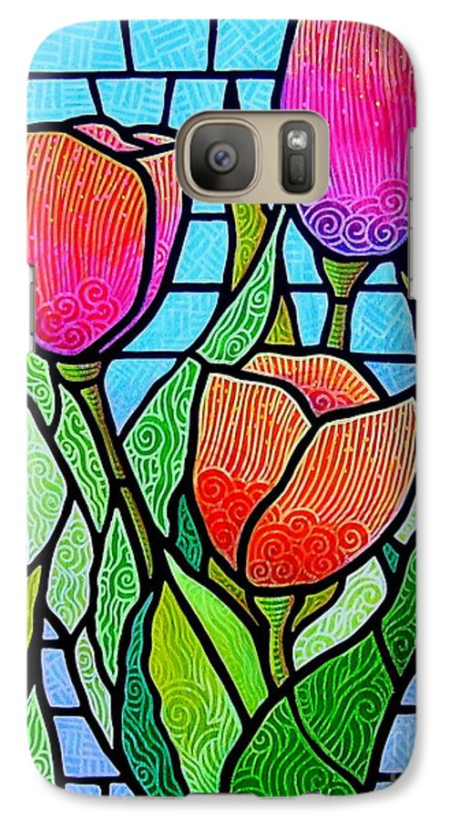 Tulips Galaxy S7 Case featuring the painting Tulip Garden by Jim Harris