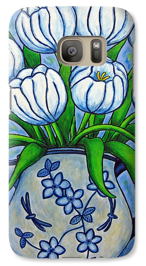 Flower Galaxy S7 Case featuring the painting Tulip Tranquility by Lisa Lorenz