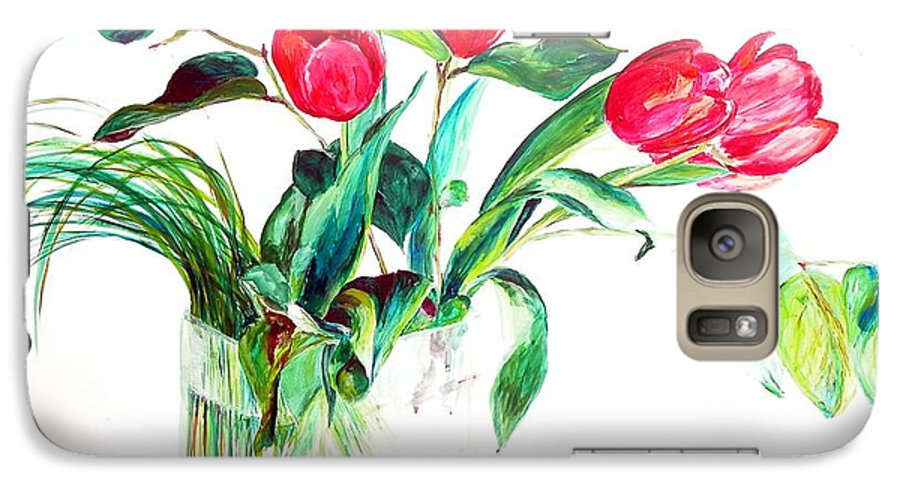 Flower Galaxy S7 Case featuring the painting Tulipes by Muriel Dolemieux