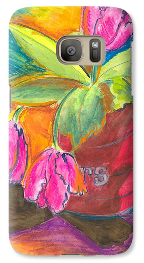Flowers Galaxy S7 Case featuring the painting Tulips In Can by Jean Blackmer