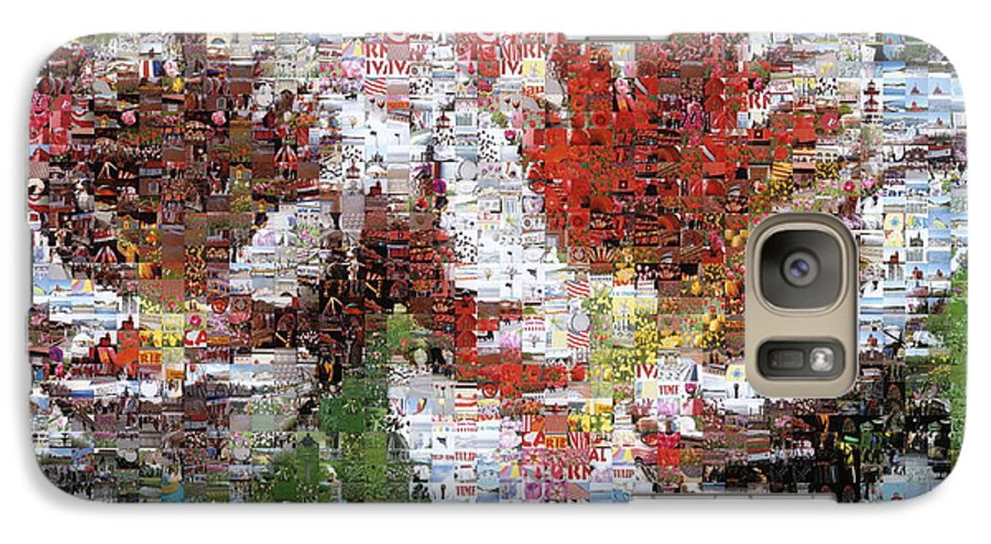 Lighthouse Galaxy S7 Case featuring the photograph Tulips In Springtime Photomosaic by Michelle Calkins