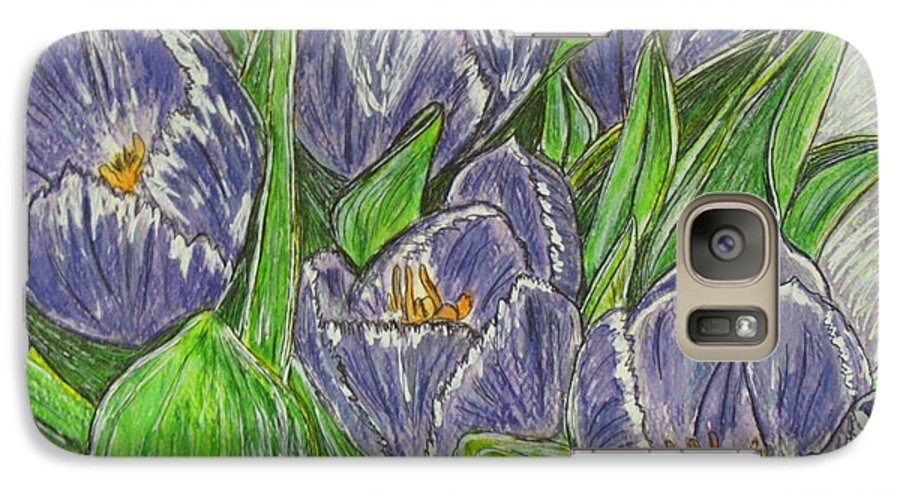 Tulips Galaxy S7 Case featuring the painting Tulips In The Spring by Kathy Marrs Chandler