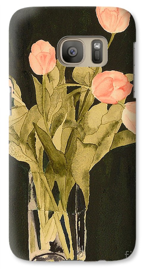 Tulips Galaxy S7 Case featuring the painting Tulips On Velvet by Louise Magno