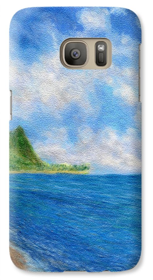 Rainbow Colors Pastel Galaxy S7 Case featuring the painting Tunnels Beach Sky by Kenneth Grzesik