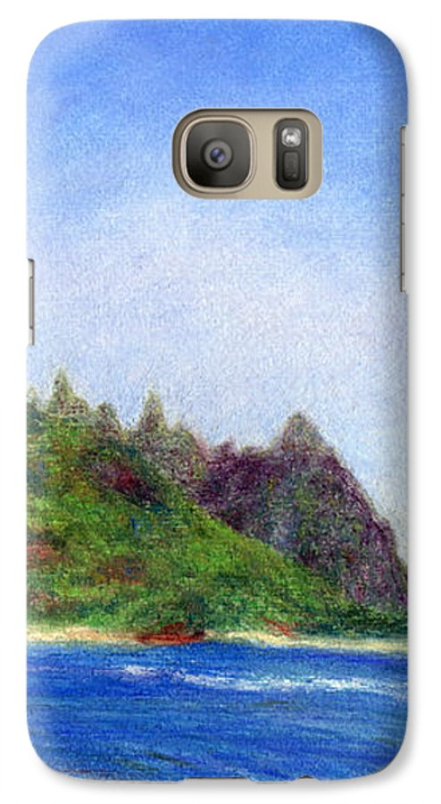 Rainbow Colors Pastel Galaxy S7 Case featuring the painting Tunnels Beach View by Kenneth Grzesik