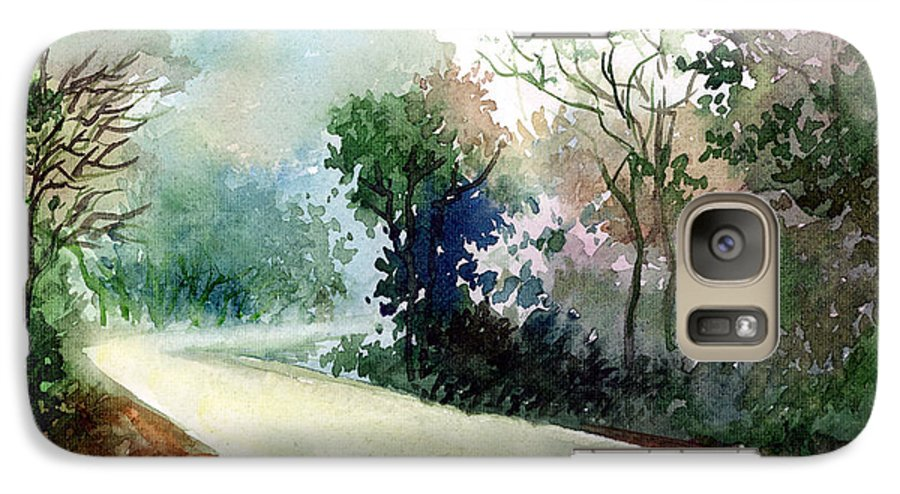 Landscape Water Color Nature Greenery Light Pathway Galaxy S7 Case featuring the painting Turn Right by Anil Nene