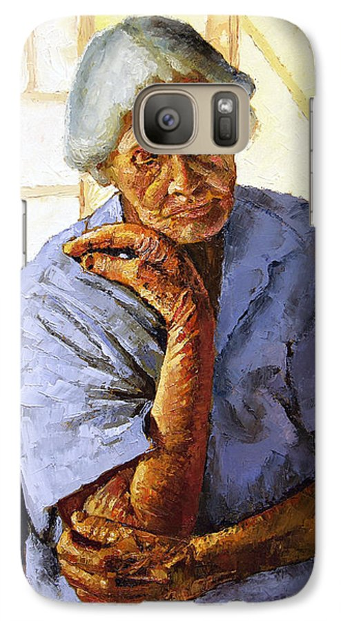 Old Woman Galaxy S7 Case featuring the painting Turning Inward by John Lautermilch