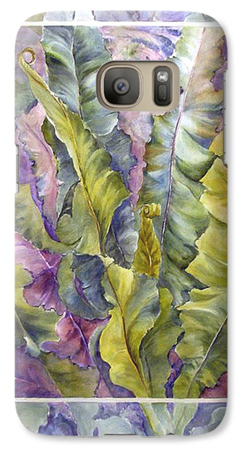 Ferns;floral; Galaxy S7 Case featuring the painting Turns Of Ferns by Lois Mountz