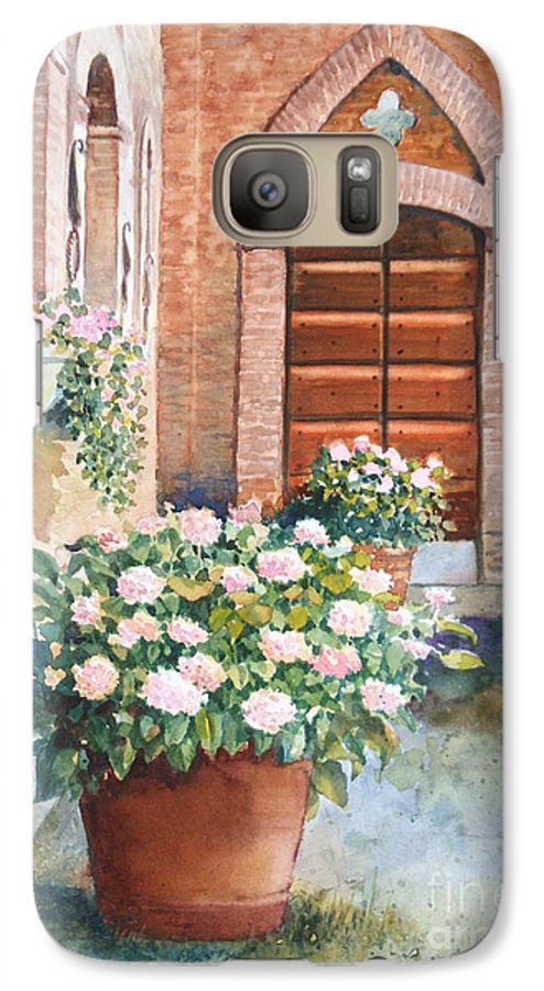 Tuscan Galaxy S7 Case featuring the painting Tuscan Courtyard by Ann Cockerill
