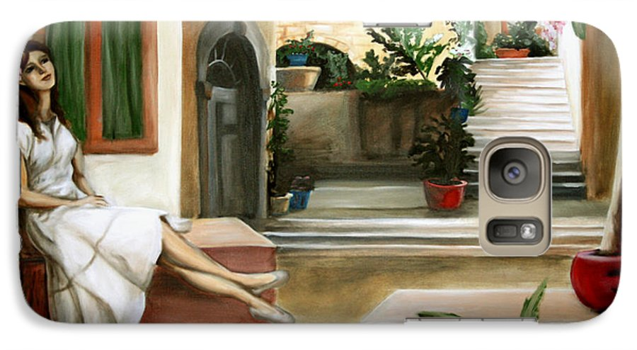 Portrait Galaxy S7 Case featuring the painting Tuscan Courtyard by Maryn Crawford