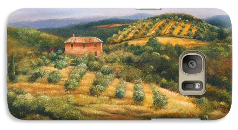 Landscape Galaxy S7 Case featuring the painting Tuscan Summer by Ann Cockerill