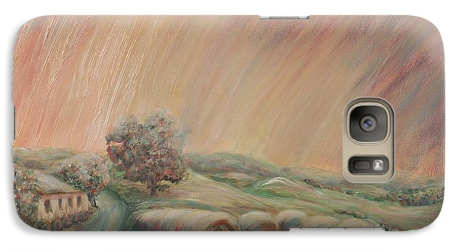 Landscape Galaxy S7 Case featuring the painting Tuscany Hayfields by Nadine Rippelmeyer