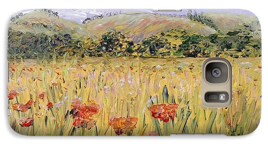 Poppies Galaxy S7 Case featuring the painting Tuscany Poppies by Nadine Rippelmeyer