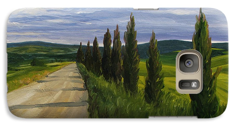 Galaxy S7 Case featuring the painting Tuscany Road by Jay Johnson