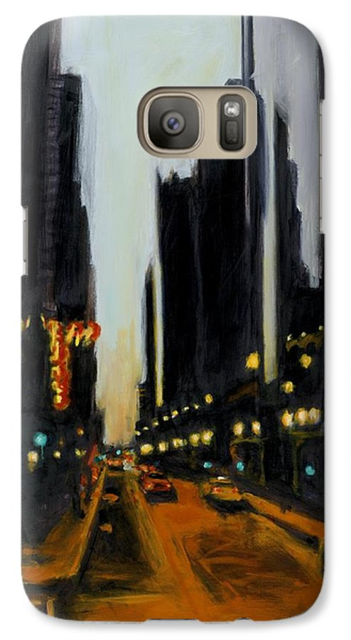 Rob Reeves Galaxy S7 Case featuring the painting Twilight In Chicago by Robert Reeves