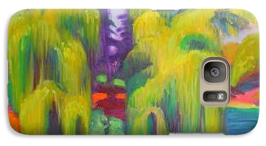 Landscape Galaxy S7 Case featuring the painting Twin Willows Chicago Botanical Gardens by David Dozier