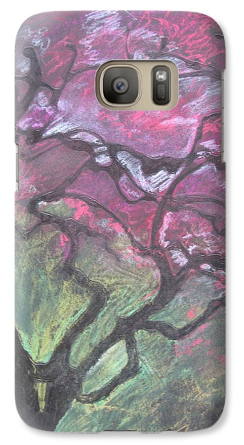 Pastel Galaxy S7 Case featuring the drawing Twisted Cherry by Leah Tomaino