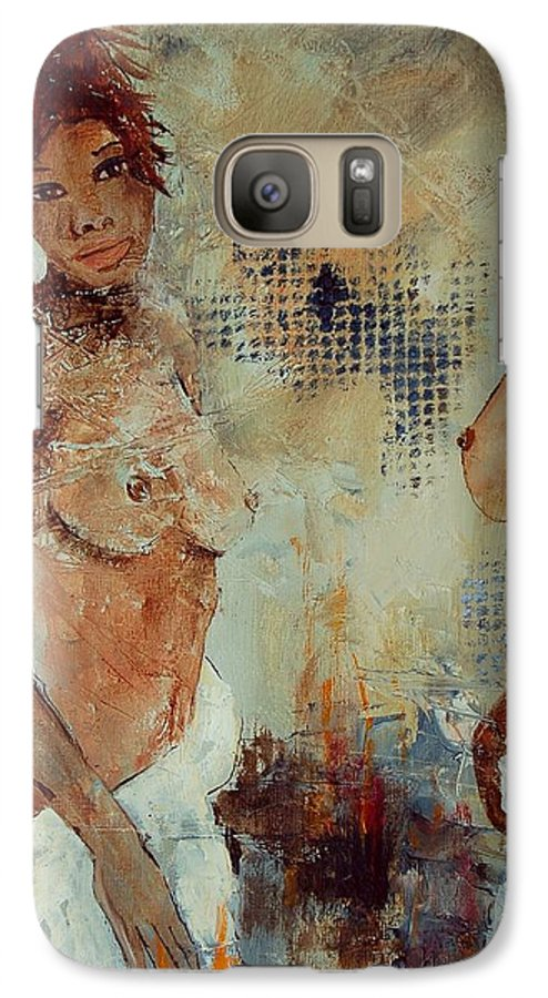 Girl Nude Galaxy S7 Case featuring the painting Two Black Sisters by Pol Ledent