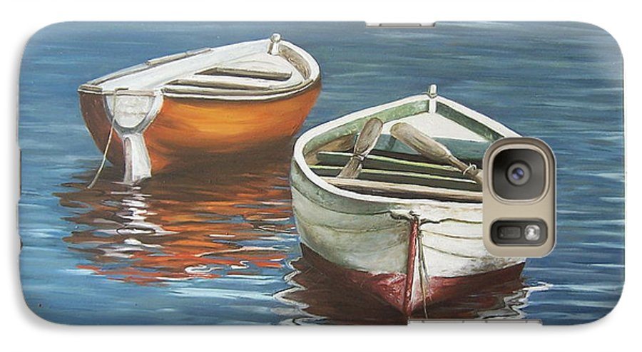 Boats Reflection Seascape Water Boat Sea Ocean Galaxy S7 Case featuring the painting Two Boats by Natalia Tejera