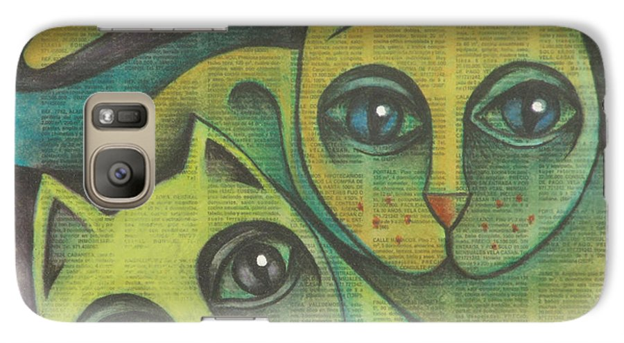 Sacha Circulism Circulismo Galaxy S7 Case featuring the drawing Two Cats 2000 by S A C H A - Circulism Technique