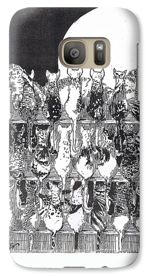 Cats Galaxy S7 Case featuring the drawing Two Dozen And One Cats by Seth Weaver
