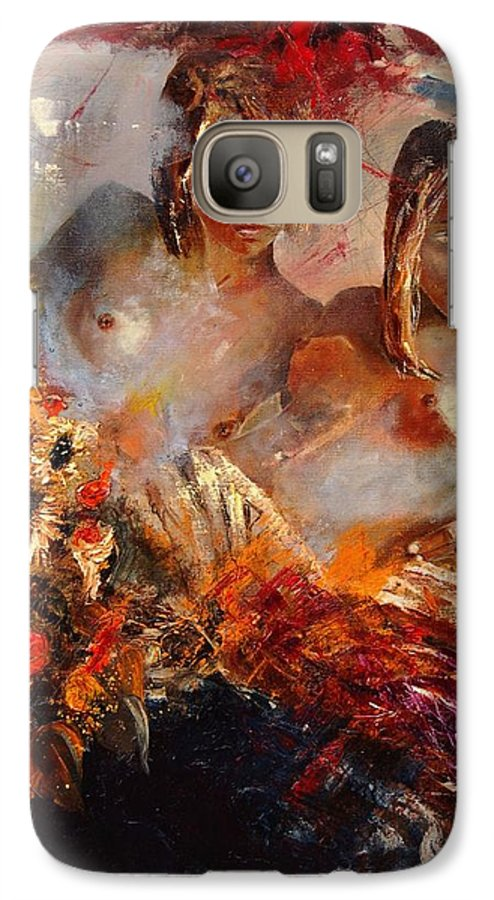 Girl Nude Galaxy S7 Case featuring the painting Two Friends by Pol Ledent