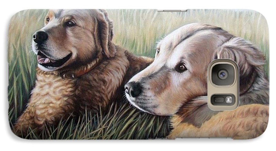 Dogs Galaxy S7 Case featuring the painting Two Golden Retriever by Nicole Zeug
