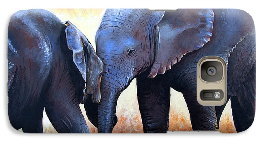 Elephants Galaxy S7 Case featuring the painting Two Little Elephants by Paul Dene Marlor