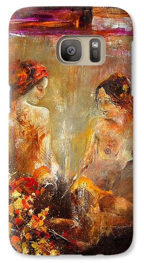 Girl Nude Galaxy S7 Case featuring the painting Two Nudes by Pol Ledent