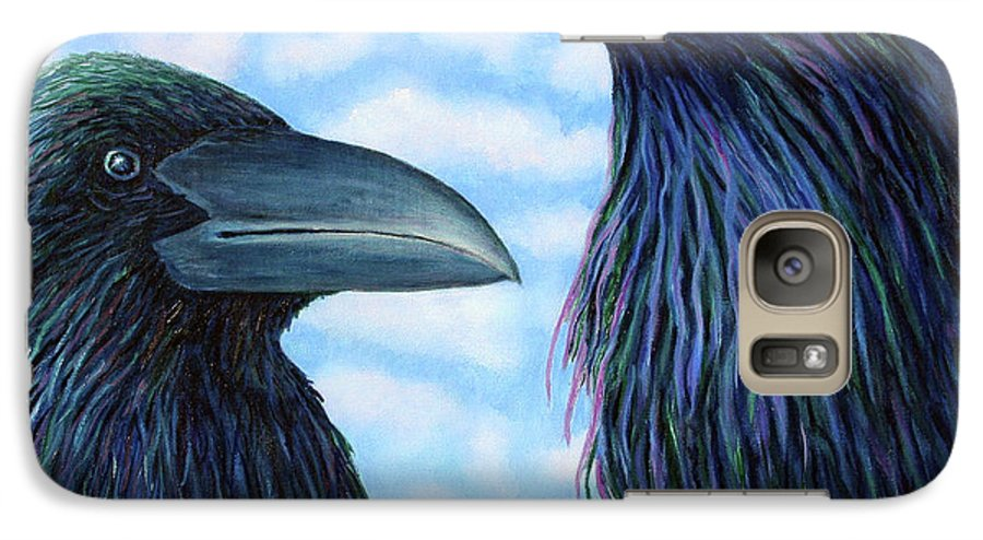 Raven Galaxy S7 Case featuring the painting Two Ravens by Brian Commerford