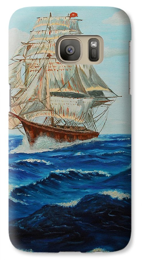 Ship Galaxy S7 Case featuring the painting Two Ships Sailing by Quwatha Valentine